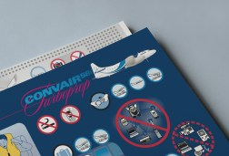 Convair CV580 Cabin Safety Instructions Card, front cover, close-up.