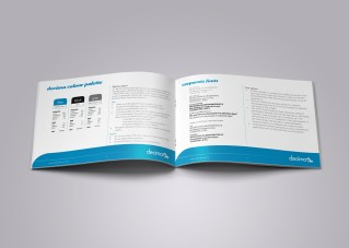 """Inside spread from the Decima corporate style guide, page headings read """"decima colour palette"""", """"corporate fonts"""". Brand use document, Graphic Standards guide."""