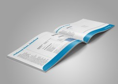 """Inside spread from the Decima corporate style guide, page headings read """"stationery items, business cards"""", """"stationery items letterhead"""". Brand use document, Graphic Standards guide."""