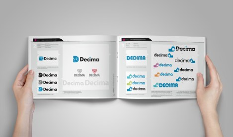 Inside spread from the Decima brand design presentation document. The presentations are structured along the lines of a comic book, there is a visual narrative flow to the development of the strongest threads of ideas for brand with explanatory captions. The pages are numbered and each panel is labelled which assists remote discussions by phone or email about the work with the client.