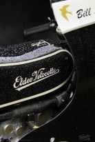 Eldee Velocette classic racing motorcycle brand on petrol tank, starboard side elevation, carbon-fibre racing, fairing, publicity photo, photography