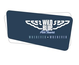 Wild Blue Air Tours logo and tagline lock-up—Wherever, Whenever. Iconic White stylized wings. Wild Blue type set within and among iconic wings. Private air charter joint venture company. Brands for New Zealand companies.