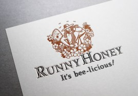"""Runny Honey symbol and type logo, product name and positioning statement """"It's bee-licious"""". A stylized line illustration of a woman apiarist set amongst a beehive, clover and bees pours Runny Honey from a jug into a honey jar. The """"S"""" curve of the poured honey is echoed in the ascenders of the incised handlettering of the company name. Trademark and packaging label for a range of honey, and other bee products, for apiarist training and consultancy. Brands for New Zealand companies."""
