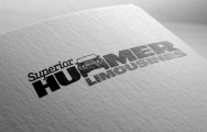"""Superior Hummer Limousines letter replacement logo in two colours, black and dark grey on white. """"Superior"""" is set in Javelin a joined-up slab serif italic font inspired 50s automobile badging, positioned above and left of Hummer which is set in all-caps. The first """"M"""" in hummer is replaced by a line drawing of the front elevation of the Hummer. Hummer and Limousines words both set all caps in custom modified Antique Olive Nord font, horizontally extended consistent with Hummer branding. """"Superior Hummer"""" are black, Limousines is dark grey, tucked in below Hummer, aligned right. Brands for New Zealand companies, Christchurch New Zealand."""