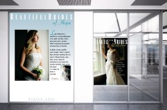 Set of three Beautiful Brides of Hope bridal couture instore display posters, tradeshow advertising posters in retail showroom environment. Advertising and promotional design, print production. Hope, Nelson, New Zealand.