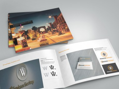 Cover spread and inside spread WindsorUrban logo design presentation document.