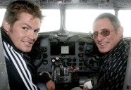 Trust patron Richie McCaw smiling in the pilot's seat of the Southern DC3.