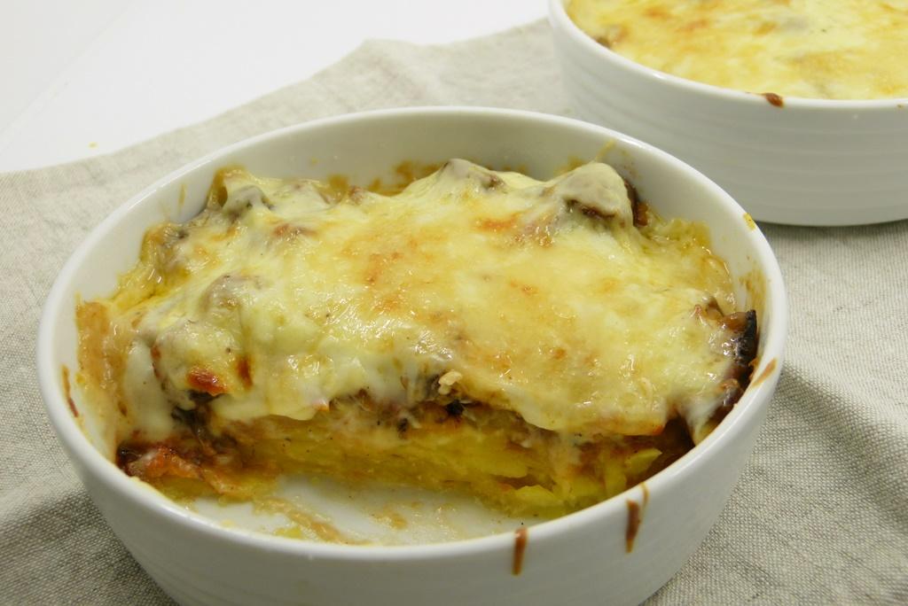 Shiitake-Kartoffel-Moussaka Dauphinoise
