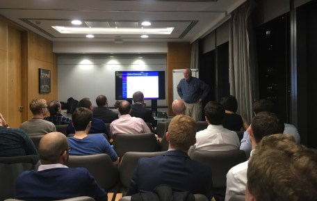 Glenn Meyers speaking at the Bayesian Mixer