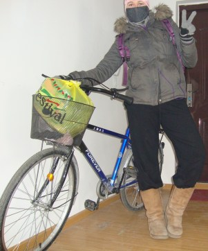 All bundled up and ready to bike to work