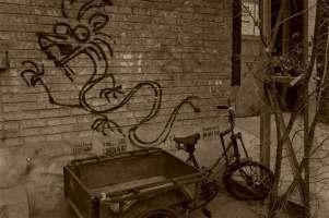 Graffiti and Cart Sepia