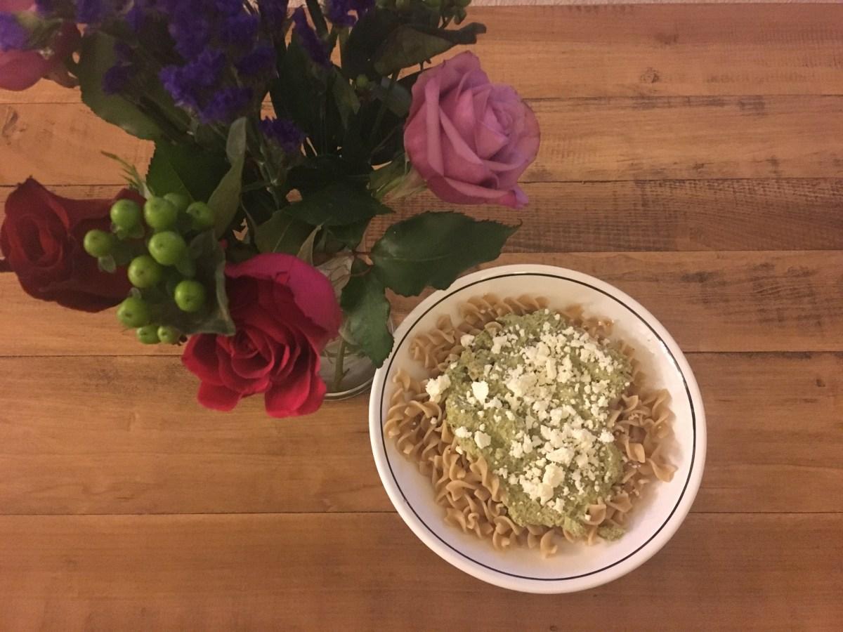 Broccoli feta pesto with flowers