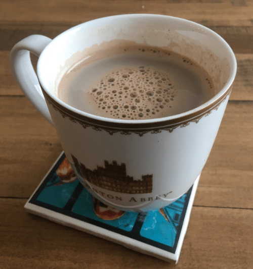 Hot chocolate in a Downton mug