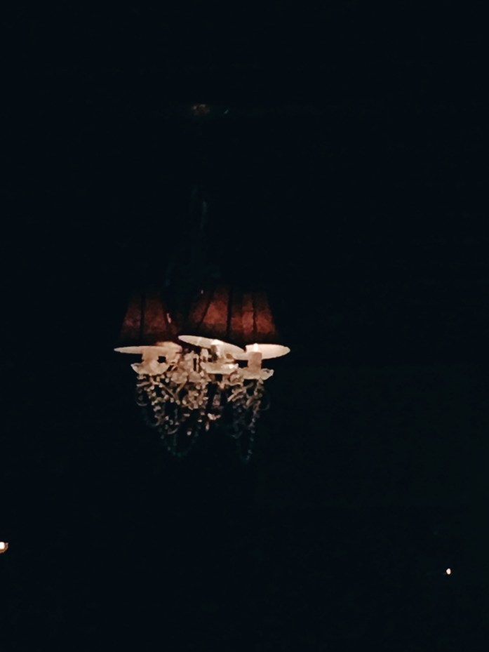 Cute chandelier at The Fainting Goat
