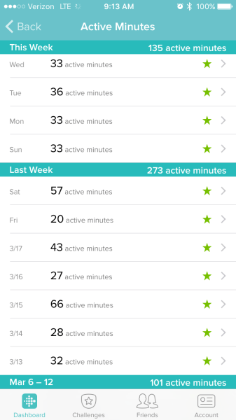Fitbit - stars for active minutes!