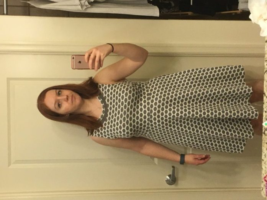 Gray and white honeycomb print dress