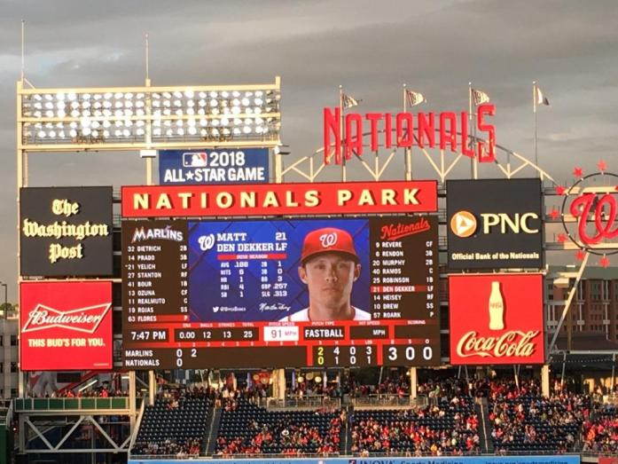Nationals scoreboard late game 5.14.16