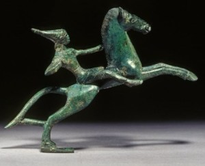Etruscan bronze of a mounted Amazon, c 500 BCE
