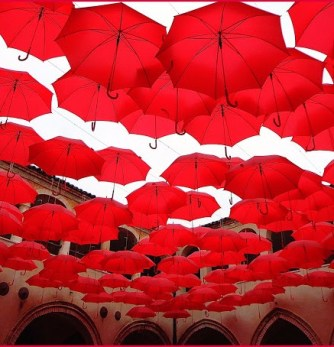 many red umbrellas