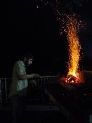 Agustin working the bbq