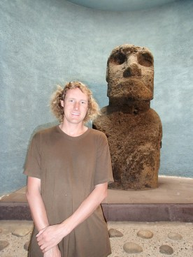 Bryan with a moai from Easter Island at the archaeological museum in La Serena, Chile