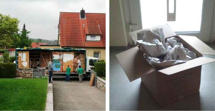 These photos show the two most important days of the move. Left- the day our Household Goods arrived and Right- the day the last box was unpacked.
