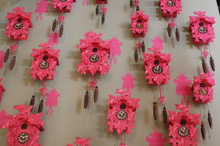 Dozens of Hot pink Cuckoo clocks on Cuckoo clock wallpaperImage from dasmutterblog2