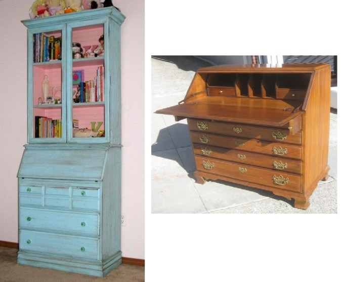 Katie's secretary started like looking very similar to the one on the right.I built the upper portion myself using a basic book shelf design and picture frames and their glass for the doors. New base molding and crown molding give it a whole new look.