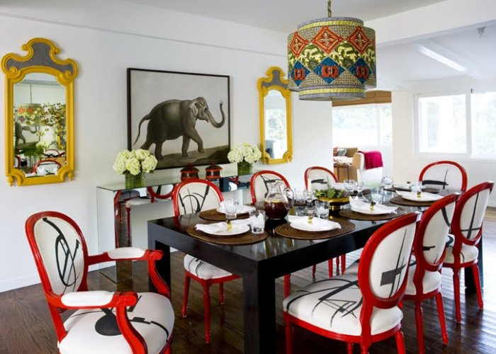 m design dining room red chairs yellow mirrors