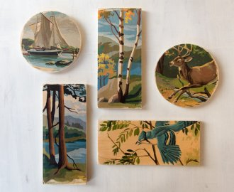 Etsy shop StudioLiscious makes these lovely paint by number art blocks out of recycled 1/2″ thick birch plywood scraps.