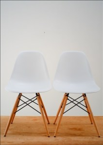 Pair (2x) Eames Molded Plastic Side Chair Eiffel WOOD Dowel Legs, COLORS AVAIL