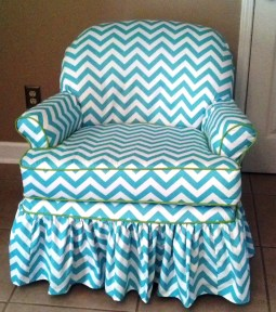 On of my favorite slipcover I made using Premier Prints Zig Zag Twill  in Girly Blue