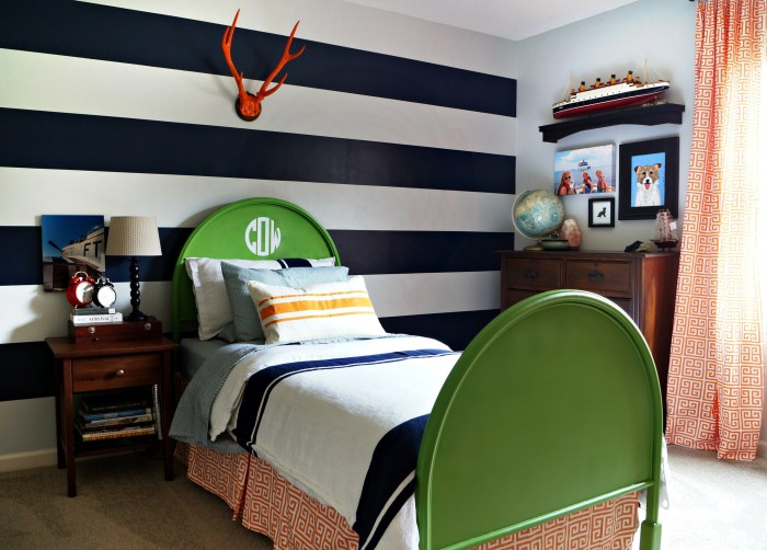 Boys Room in Navy, Orange, and Green