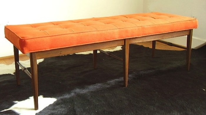 Orange-Tufted-Mid-Century-Modern-Retro-Bench