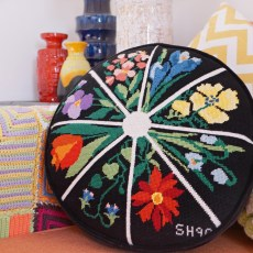 detail-pillow-round-black-colorful-Vintage-floral-needlepoint
