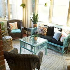 bohemian-screen-porch-sunroon-rattan-bamboo-wicker-orange-aqua-black-white