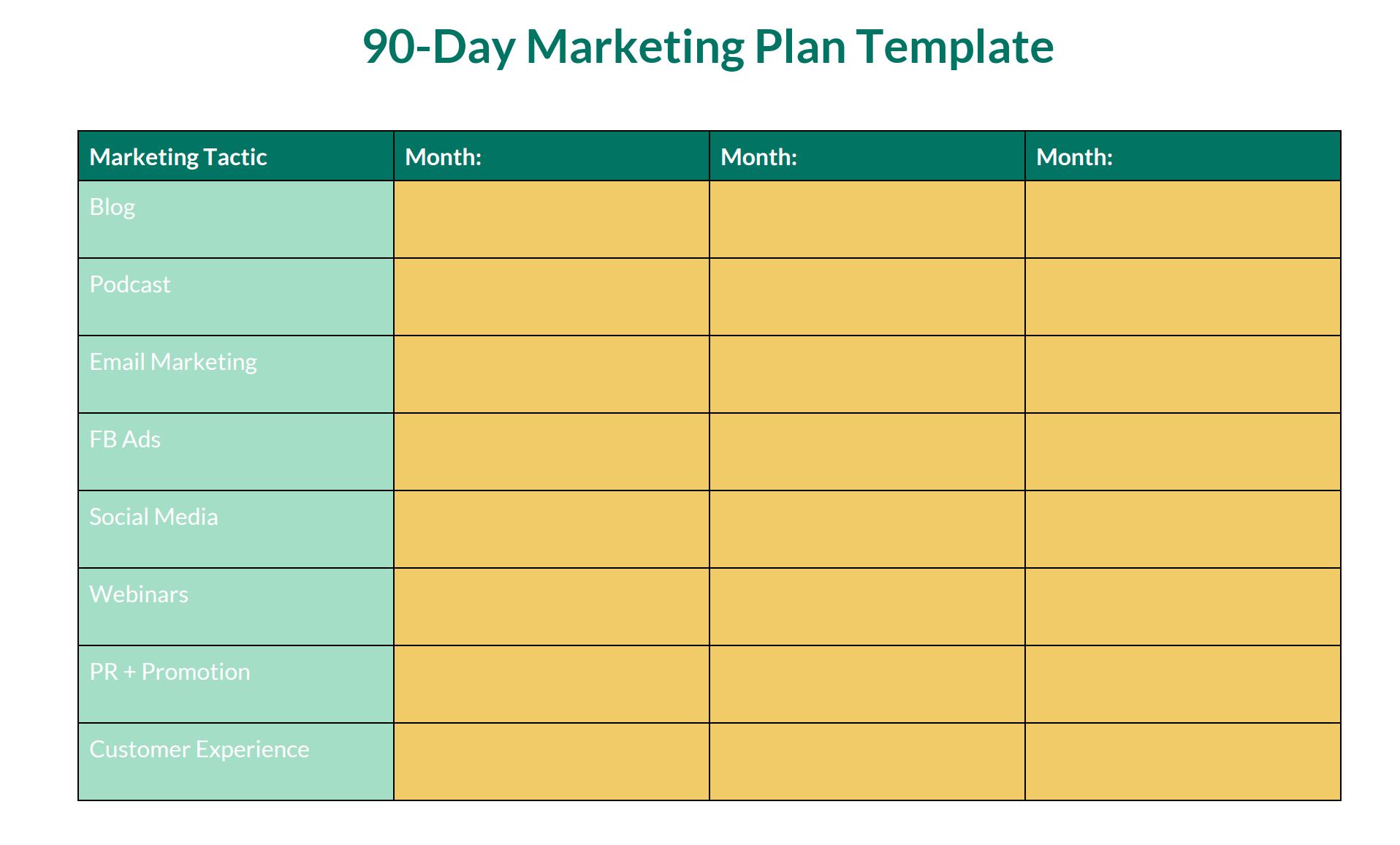 90 Day Marketing Plan Download