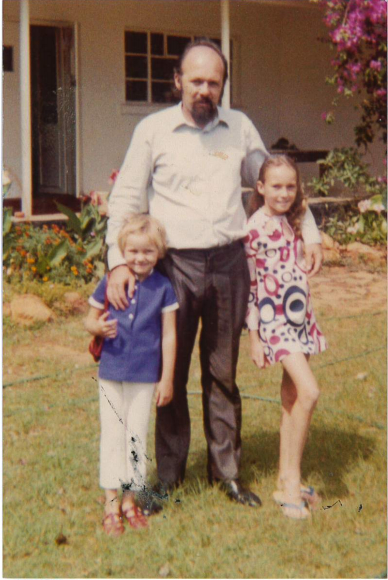 My sister Mairi, aged five, and me aged nine – note the psychedelic 1970s dress – with our dad, John Mallon, who was setting up a teacher training college in Chalimbana for the British Council. It's still going strong.