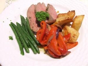 Lamb rump,grilled red capsicum,baked sebago potatoes