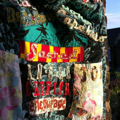 Contemporary Art Textile with hand appliquéd fonts and letter