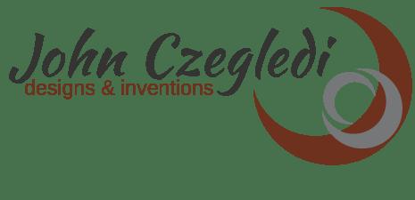 logo for John Czegledi Inventions and Designs, designed by Maggie Ziegler, artist and designer form Courtenay BC