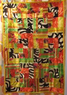 Baby Quilt, Bento Box Pattern - Silk Scraps from M. Butterfly at the Met Opera.