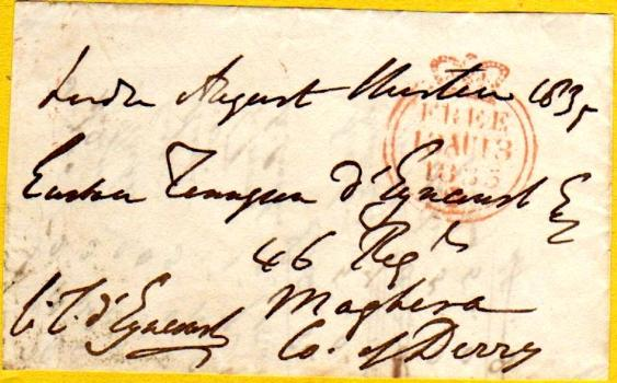 1835 Free Letter to Captain Tennyson d' Eyncourt of 46th Regiment of Foot