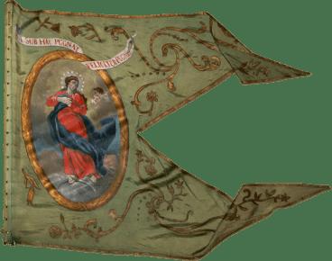 Steag al cavaleriei nobililor răsculați din Comitatul Pest/ Pesta (avers), sec. XVIII
