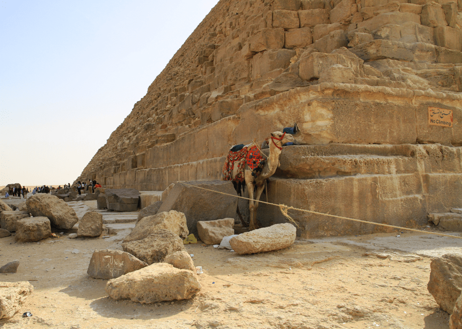 Cheops pyramid in Giza by camel
