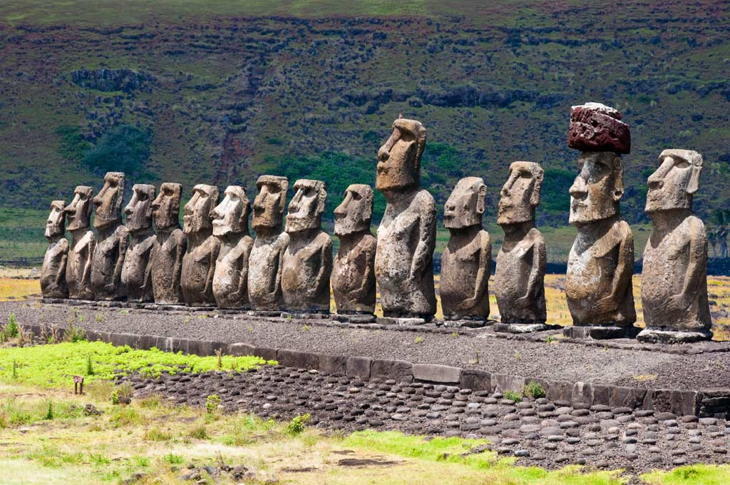 Moais Figures at Rapa Nui - Pazific Ocean