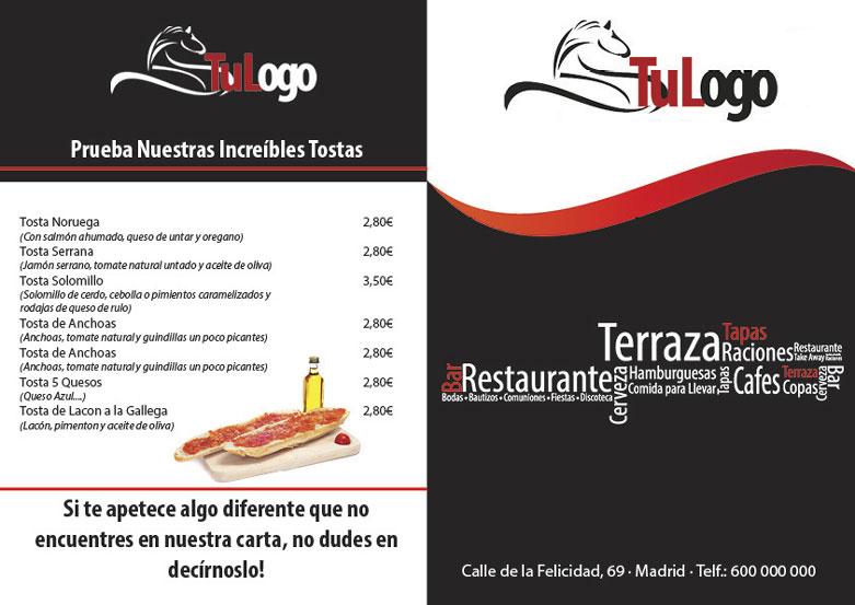 plantilla para descargar carta menu restaurante