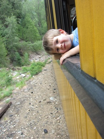 This boy loves trains.