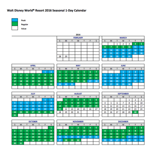 WDW 2016 Seasonal Ticket Calendar