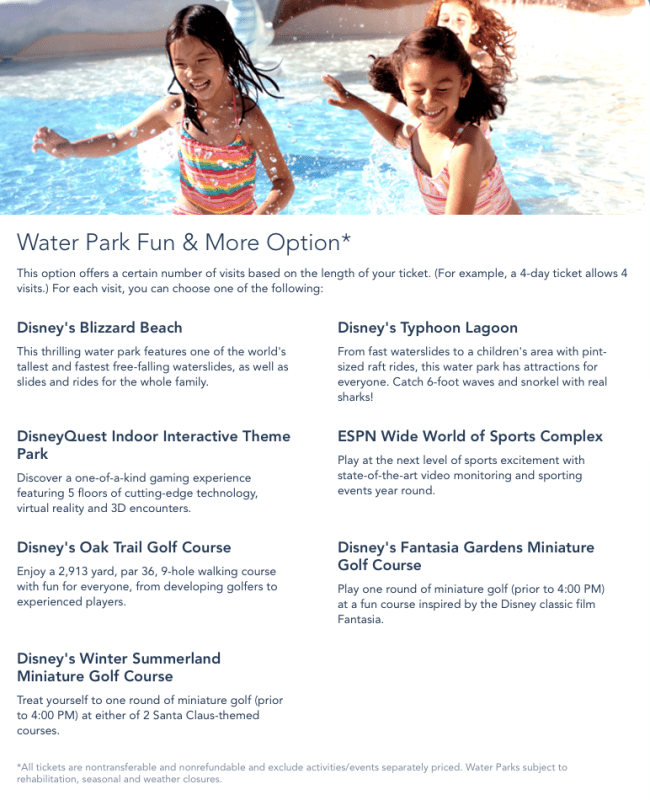 Water Park & More Option